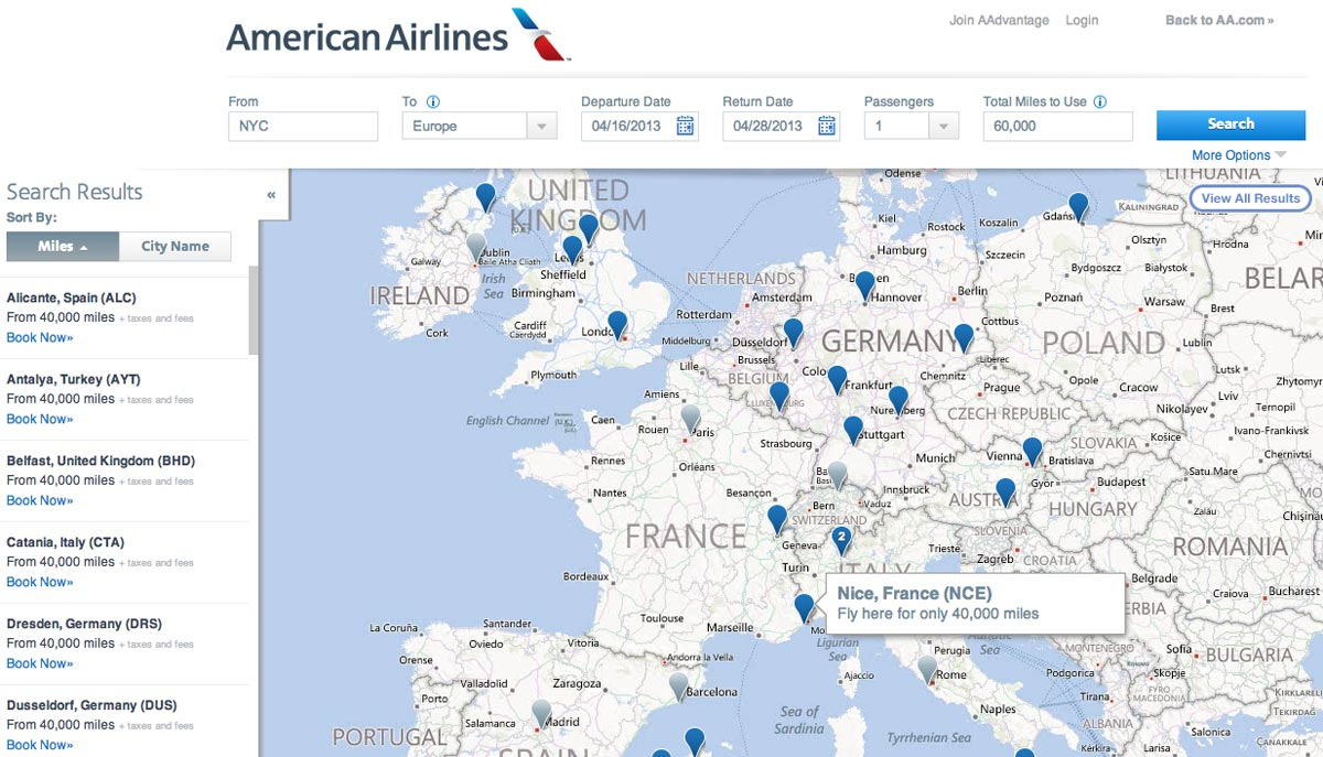 AA Award Flight Map